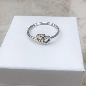 Pandora Heart to Heart Ring Two Tone New .